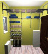Гардеробная в прихожей деревянного дома - дизайн-проект